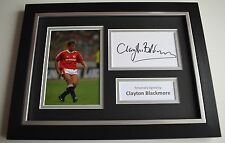 Clayton Blackmore Signed A4 FRAMED photo Autograph display Manchester United COA
