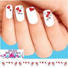 Waterslide Nail Decals - Set of 20 Valentines Hearts Red Swirls Scrolls Assorted