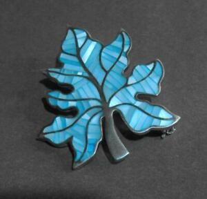 Cont Silver 925 mounted shell inlaid leaf or tree shaped pendant brooch 12588