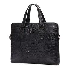 Crocodile Leather Men 14'' Laptop Lawyer Briefcase Deluxe Document Work Bag