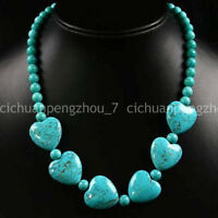 Natural 6mm Round 18x18mm Heart Gems Beads Blue Turquoise Necklace 18''