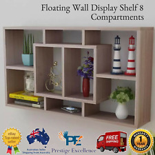 Book CD Storage Shop Display Shelf Wall Mount Floating Cube 8 Shelves Ornaments