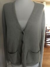INHAbit gray CASHMERE LINEN Boxy Pockets  button front V CARDIGAN SWEATER TOP S