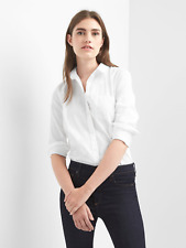 GAP WHITE 355776 NEW FITTED BOYFRIEND OXFORD SHIRT BLOUSE TOP NWTS XS S M L XL