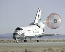 Space Shuttle Atlantis lands and deploys chute at Edwards AFB Photo Print