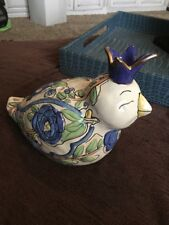Charming Blue Sky Clayworks 2006 Heather Goldminc Crowned Bird Candle Holder