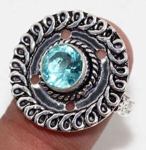 Blue Topaz Ethnic Handmade Gemstone Ring Jewelry US Size-9 JW
