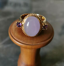 Ring mit Lavendel Jade und zwei Lila Zirkonia, Gr. 21