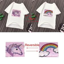 Sew on Unicorn Sequins Patch Embroidered Paillette Applique Reversible Color
