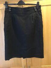 Ladies Black Linen Aline SKIRT Size 12 Smart Work Lined By George