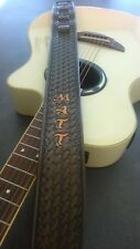 Hand made Carved Leather Guitar Strap Name Personalised Acoustic or Electric