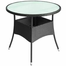 Garden Coffee Table Poly Rattan Outdoor Patio Frosted Glass Tabletop Round Black