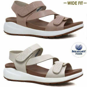 Ladies Womens New Wedge Heel Memory Foam Summer Walking Sandals Wide Fit Shoes