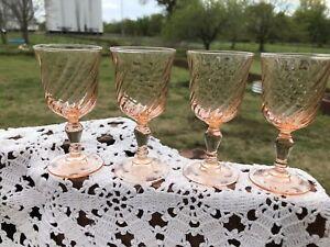 4 Pink Rosaline Swirl Cordial 1.5 oz Shot Glass Stemware France Luminarc Cordial