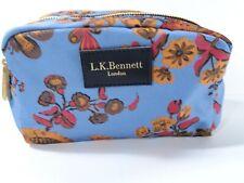 L.K. Bennett Women's Blue Orange Floral Canvas Cosmetic Case bag NWOT $120