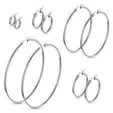 Pair of 316L Surgical Steel Round Hoop Earrings