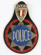 VINTAGE FRANCE POLICE PATCH WITH BADGE SIGNED FIA LYON EDIT FRENCH FLAG RED BLUE