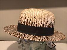 Bailey Hepworth Genuine Panama Straw Hat Fedora M L Natural Brown UNIQUE