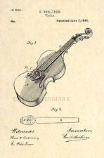 Official Violin US Patent Art Print - Antique Vintage Berliner Stratovarius -114