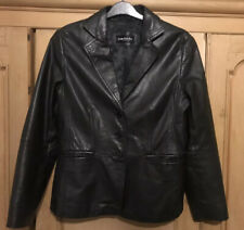 Betty Barclay 100% Leather Jacket Size 14, Blazer style. Good Condition