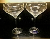 Mikasa Cheers 11 Oz Champagne Saucers Coupes 2 Different Designs Dots Spiral NEW