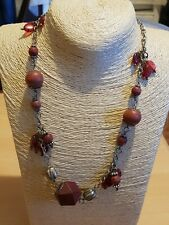 Fashion Jewellery Necklace long Length  brick red wood beads