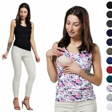 HAPPY MAMA Women's Nursing Double Layered Vest Top Round Neck Sleeveless 1034