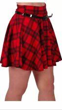 Womens Tartan Checkered Belted Stretch Waist Short Mini Flared Skater Skirts New