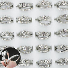 10Pcs/5set Wholesale Finger Rings Bulk Mix Silver Plated Clear Crystal Jewelry