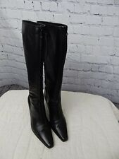 Ann Taylor knee high black boots front zip size 6 Italian made