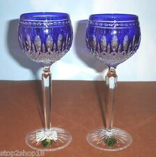 Waterford CLARENDON Cobalt Blue Wine Hock SET/2 Glasses Crystal 9735950892 New