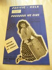 Partitura Pacific Anyta De Hula Pourquoi me decir 1963 Music Sheet
