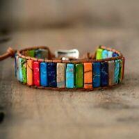 Bracelet Stone Chakra Women Tube Leather Beads Wrap Natural Handmade