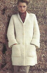 "Easy Knit Ladies Chunky Coat/Jacket with pockets Knitting Pattern 32-38"" 804"