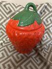 Vintage Ceramic Strawberry Cookie Jar Canister Kitchen Kitsch Hand Painted