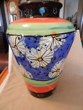 Multi-colored Ceramic Vase Flower Designs Modernism Blue, Orange Green, Black