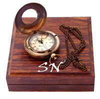 Vintage Sundial Royal Watch Pocket Clock with Hardwood Wooden Box Collectibles