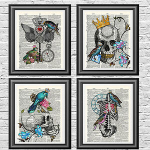 Wall Art Prints Set of 4 Gothic Skulls Birds Dictionary Pictures