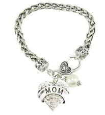 Mom Pearl Mother Mommy Silver Lobster Claw Bracelet Heart Jewelry Cream