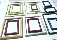 14 Assorted Sizes/Colors Bamboo Style wood hanging frames/glass/As is