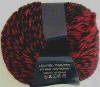 Euro Yarns NIGHT #203 Red & Black Self Striping 100g Yarn Skeins Wool / Poly