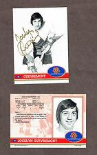 1972 Team Canada Jocelyn Guevremont Autographed Card