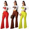 Stylish Women Fall&Winter Lip Print Long Sleeves Tops Casual Pants Set 2pcs