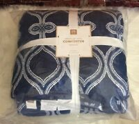 Pottery Barn Teen Droplet Geo Comforter Full Queen Blue White