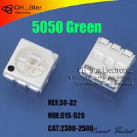 1000pcs 5050 2220 PLCC-6 Green Light SMD SMT 3-CHIPS Ultra Bright LED