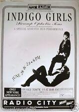"INDIGO GIRLS 1994 ""SWAMP OPHELIA TOUR"" NEW YORK CONCERT POSTER - Acoustic Show"