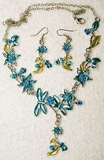 jewelry set aqua crystal butterfly flower necklace earrings Silver tone