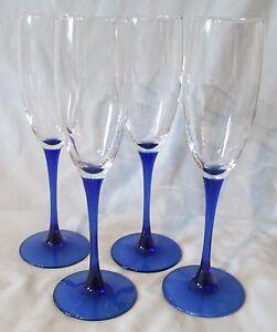 Cris Cristal d'Arques Neptune Blue Glass Fluted Champagne set of 4