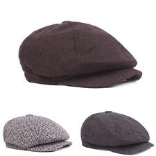 UK_ Classic Newsboy Beret Hat Men's Knitted Outdoor Casual Octagonal Cap Divine