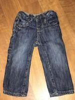 Gap Baby 6-12 Month Denim Blue Jeans Rib Waist Fully Lined Dark Wash 6 12
